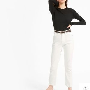 Everlane The High-Rise Straight Ankle Jean White